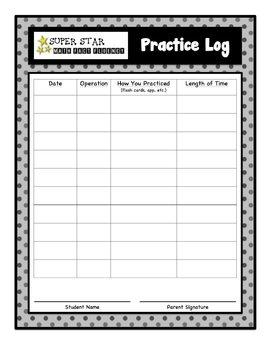 Math Fact Fluency Practice Log