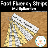 Math Fact Fluency Strips Flashcards Multiplication