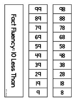 Math Fact Fluency Strips Ten More Than Ten Less Than