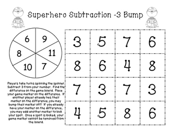 Math Fact Fluency: Subtraction Bump Games