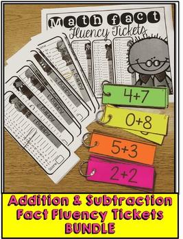 Math Fact Fluency Tickets: Addition & Subtraction BUNDLE