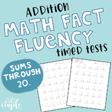 Math Fact Fluency Timed Test - Addition - Sums Through 20