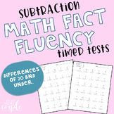 Math Fact Fluency Timed Test - Subtraction - Differences of 20 & Under