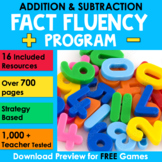 Math Fact Fluency Addition and Subtraction Program BUNDLE