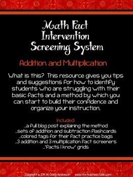 Math Fact Intervention Screening Resource