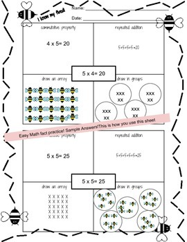 3rd Grade Math: Multiplication Fact Freebie