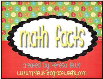 Math Fact Mastery Display Owl Theme