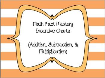 Math Fact Mastery Incentive Charts (+, -, x)