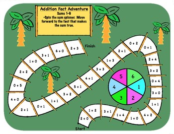 Addition Math Fact Practice Games (Sums 1-18)