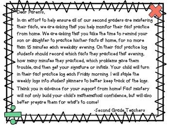 Math Fact Practice Log and Parent Sheet