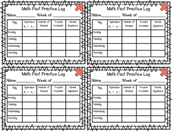 Math Fact Practice Log and Parent Sheet