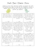 Math Fact Practice Menu