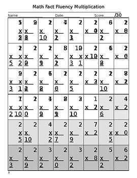 Math Fact Practice Multiplication