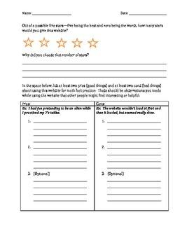 Math Fact Practice Website Evaluation