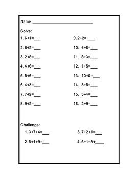 Math Fact Practice with Challenge