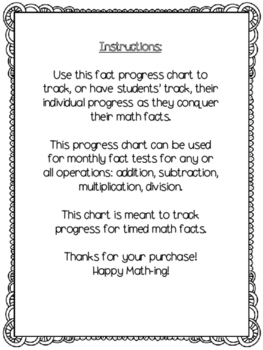 Math Fact Progress Chart