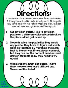 Math Fact Puzzle Bundle
