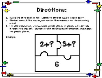 Math Fact Puzzles - Addition to 20