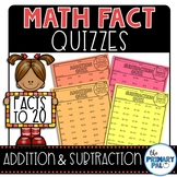 Math Fact Quizzes: Addition and Subtraction to 20