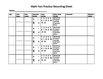 Math Fact Review Log