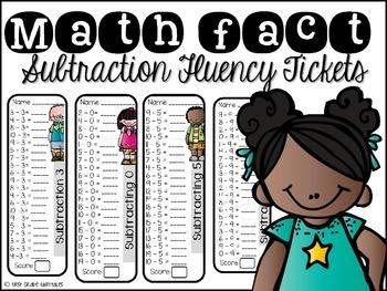 Math Fact SUBTRACTION Fluency Tickets
