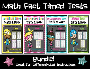 Math Fact Timed Tests Bundle