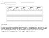 Math Fact Tracking Sheet
