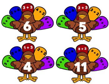 Math Fact Turkey Matching Game