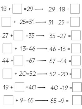 Math:Fact family 数学加减法:部分和全部