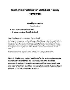 Math Fact fluency homework