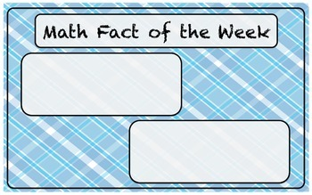 Math Fact of the Week, Addition, Subtraction, Multiplication, Division