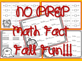Math Fact to 10 Fall Theme No Prep
