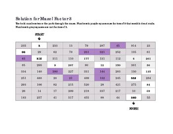 Math Factor Mazes