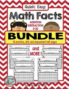 Math Facts 0-20 Addition-Subtraction Bundle