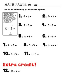Math Facts 10's Addition