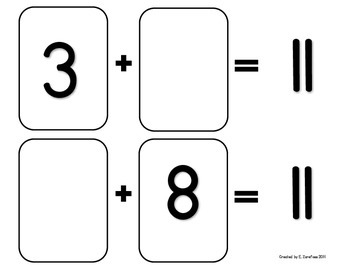 Math Facts 11-18 Addition: Playing Cards #2