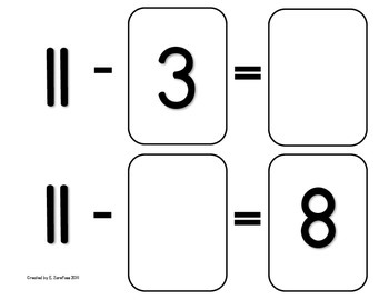 Math Facts 11-18 Subtraction: Playing Cards #2