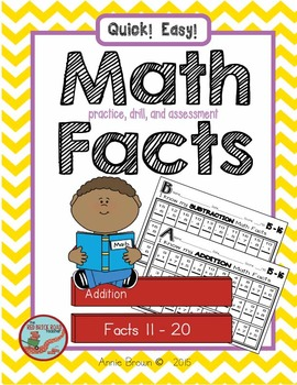 Math Facts 11-20  for Practice - Drill - Assessment   (Addition-Subtraction)