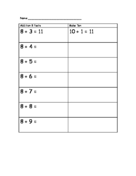 Math Facts 8 and Make Ten
