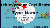 Math Facts Achievement Certificates (Editable)