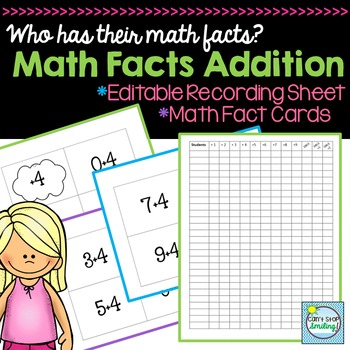 Math Facts Addition Including Editable Recording Sheet