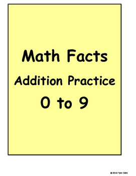 Math Facts Addition Practice 0 to 9
