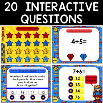 Math Facts Addition Strategy PowerPoint Game Super Hero Theme {DOUBLES +1}