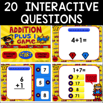 Math Facts Addition Strategy PowerPoint Game Super Hero Theme {Plus 1}
