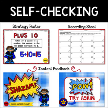 Math Facts Addition Strategy PowerPoint Game Super Hero Theme {Plus 10}