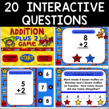 Math Facts Addition Strategy PowerPoint Game Super Hero Theme {Plus 2}