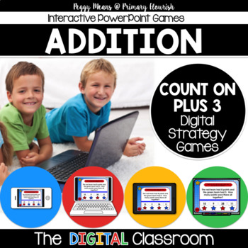 Math Facts Addition Strategy PowerPoint Game Super Hero Theme {Plus 3}