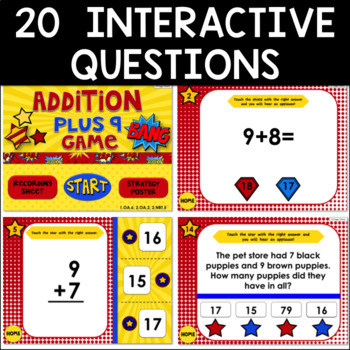 Math Facts Addition Strategy PowerPoint Game Super Hero Theme {Plus 9}