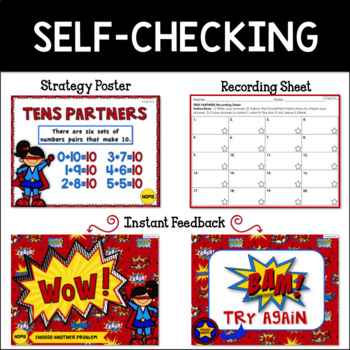 Math Facts Addition Strategy PowerPoint Game Super Hero Theme {Tens Partners}