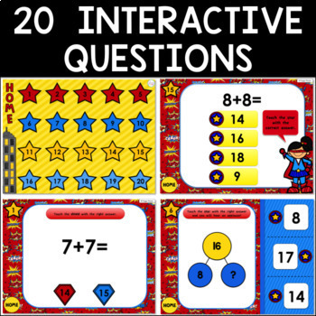 Math Facts Addition Strategy PowerPoint Games- Super Hero Theme {Bundle}